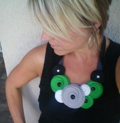 Bib necklace...statement...felt...Flower Swirl Necklace (mod green)