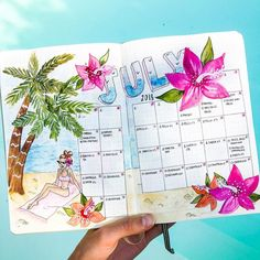33 tropical inspired bullet journal spreads My Inner Creative Doodle Bullet Journal, Bullet Journal Spreads, Bullet Journal Monthly Spread, Bullet Journal Notebook, Bullet Journal Inspo, Bullet Journals, Journal Inspiration, Journal Ideas, Planner
