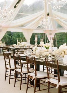 Preston Bailey Bride Ideas Glamorous Wedding Outdoor Table Setting with chandeliers