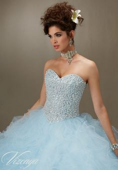 Quinceanera Dress 89077 Pearl Beaded Bodice on a Ruffled Tulle Ball Gown