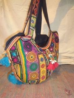 vintage banjara bags and handbags made from old vintage textiles decorated