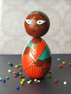Durga Devi  Handpainted Wooden Indian Goddess Golu by StudioBommai