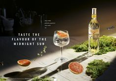 Finlandia Vodka Print Advert By Wieden + Kennedy: Fin & Tonic Camping Set, Alcoholic Drinks, Pineapple, Ads, Advertising, Tonic Water, Midnight Sun, Natural Phenomena, Art Direction