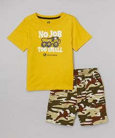 This Yellow 'No Job Too Small' Tee & Khaki Camo Shorts - Toddler by John Deere is perfect! #zulilyfinds