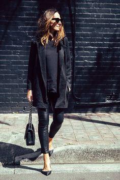 black coat + black t-shirt + leather pants / leggings + pointed toe flats + shoulder bag