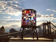 Stained glass water tower in Brooklyn