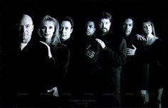 Cast of Star Trek, the Next Generation. Patrick Stewart, Gates McFadden, Brent Spiner, LeVar Burton, Jonathan Frakes, Michael Dorn, Marina Sirtis.