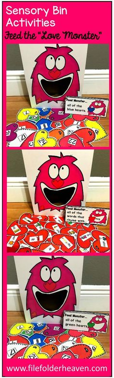 """These Valentine's Day Sensory Bin Activities: """"Feed The Love Monster"""" are a GREAT addition to your Valentine's Day or heart themed sensory bins!  There are so many ways to use this Feed The Love Monster Set. I have left it very open ended so that you can target the skills you need to target in a small group setting.  I have also included instruction cards for each set so that you can set the activity up as an independent center, and/or sensory bin activity."""