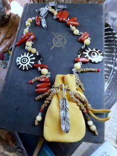 Doctor Bird Medicine Man Necklace & Bracelet. Tribal Leather Shaman Pouch African Myrrh  Carved Bone Red Jasper Feather charm Talisman Set