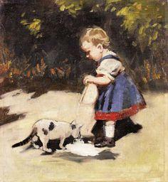 Theodor von Hörmann (Austrian, 1840-1895) - Feeding the cat