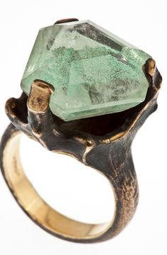 This bronze and gold ring with chlorite quartz. | 65 Impossibly Beautiful Alternative Engagement Rings You'll Want To Say Yes To