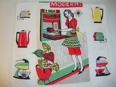 """Vintage Kitchen Towel 27"""" UNUSED & Bright Be Modern 1950, 60's red coffee pot, aqua toaster, green mixer, mod kitchen oven by TagSaleDiscoveries on Etsy"""