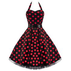 50s Large Red Polka Dot Black Rockabilly Swing Prom Pin-Up Dress