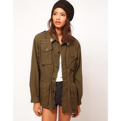 Reclaimed Vintage Army Jacket with Stud Detail ($51) ❤ liked on Polyvore