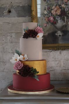 Marsala gold and pink with succulents, roses and dahlias