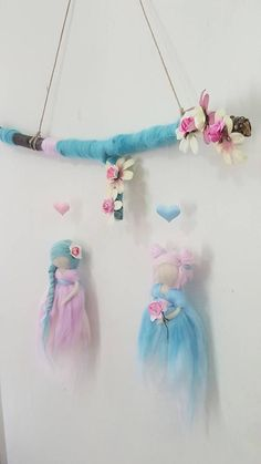 This item is unavailable - fairies sisters, sisters mobile, pastel colors fairies, sister gifts, fairy mobile decoration - Diy Crafts To Do, Felt Crafts, Arts And Crafts, Wool Dolls, Felt Dolls, Wet Felting, Needle Felting, Rainbow Fairies, Felt Fairy