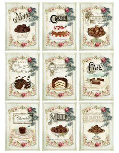 Fancy BAKERY CAKES Cookies Chocolates French por AntiquePaperie