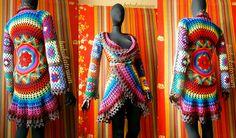 Crochet Coat - Aztec Sun Mandala And Granny Squares In Retro Rainbow Colors And Variegated Brown Edgings, via Flickr.