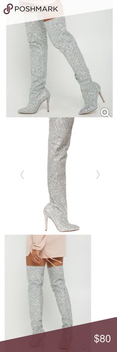 Silver glitter thigh boots Silver glitter thigh high boots Shoes Over the Knee Boots