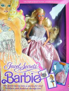 Jewel Secrets Barbie. Her ball gown skirt turned into a purse!