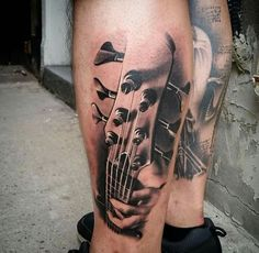 6 String Bass Black and gray Tattoo by Music Tattoos, Body Art Tattoos, Calf Tattoos, 3d Tattoos, Tatoos, Photomontage, Tatouage Rock And Roll, Tattoo Musik, Black Dragon Tattoo