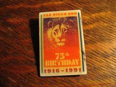 San Diego Zoo Lapel Pin - Vintage 1991 California USA 75th Birthday Lion Zoo Pin