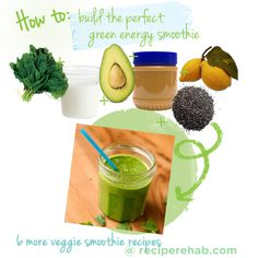 GREEN ENERGY SPINACH-AVOCADO-PB-CHIA-LEMON-SMOOTHIE ---------------------------------- 2 1/2 cups fresh spinach, 1 cup almond milk, 1/2 avocado, 1 tablespoon peanut butter, 1 teaspoon chia seeds, 1 teaspoon lemon juice)