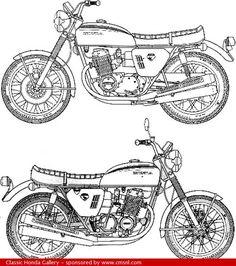 Honda CB750 Four - technical drawing (plan)