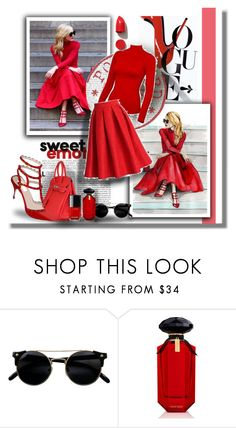 """""""RIVETING IN RED!"""" by angelflair ❤ liked on Polyvore featuring Victoria's Secret and NARS Cosmetics"""