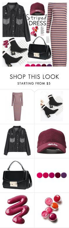 """Striped Dress"" by katjuncica ❤ liked on Polyvore featuring Deborah Lippmann, L.A. Girl and Clinique"