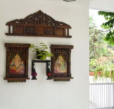 Home decor Tour by Ankita and Sitanshu's in Lucknow - headboard from old bed o. - Home decor Tour by Ankita and Sitanshu's in Lucknow – headboard from old bed on the wall - Ethnic Home Decor, Indian Home Decor, Pooja Room Design, Mandir Design, Indian Home Interior, Old Beds, Puja Room, Indian Homes, Home Decor Furniture