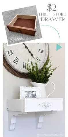 Turn an old drawer and a pair of clips into a cute wall shelf. - UPCYCLING IDEAS- Verwandle eine alte Schublade und ein Paar Klammern in ein niedliches Wandregal. – UPCYCLING IDEEN Turn an old drawer and a pair of clips into … - Old Furniture, Repurposed Furniture, Furniture Projects, Rustic Furniture, Furniture Makeover, Upcycled Furniture Before And After, Furniture Stores, Table Furniture, Furniture Design