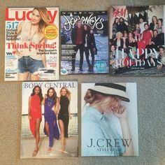 11 Catalogs J.Crew H&M Lucky Journeys Body Central Catalogs & Magazines, Lucky magazine March 2013, Journeys Holiday 2015, H&M holiday 2015, Body Central summer 2013, J.Crew style guide March 2012. Catalogs Magazines, 2 Delia's from January 2011 & March 2012. 4 Alloy from April 2011, May 2011, Holiday 2011, Holiday 2010. All in good condition. J. Crew Other