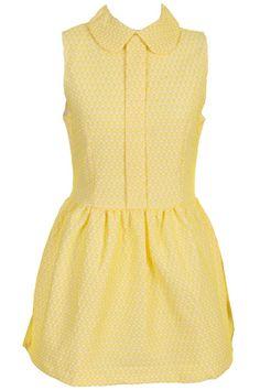 Heart Print Sleeveless Yellow Dress #Romwe