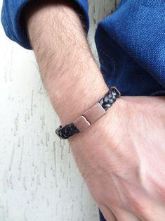 Men's Black Leather Bracelet Black Braided Leather with Black Leather Bracelet, Men's Leather, Braided Leather, Leather Jewelry, Black Braids, Multi Strand Necklace, Fashion Bracelets, Gifts For Him, Men's Fashion