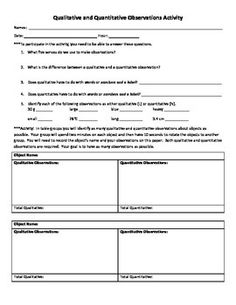 Qualitative and Quantitative Observations Worksheet | Middle ...