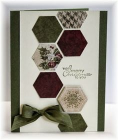 SU's hexagon punch with some patterned paper, added a sentiment and some ribbon.  Colors are artichoke and vanilla.