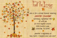 Fall In Love Bridal Shower Invitation by ExpectedBlessings on Etsy, $12.00