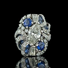 Sapphire and Diamond Vintage Cocktail Ring