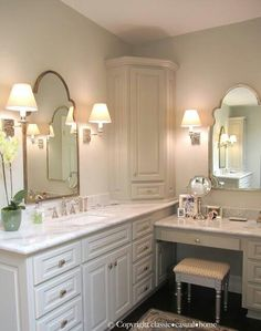 This lighting would look so much nicer in my bathroom than all those strip lights! & luv pewter bench legs! ♥