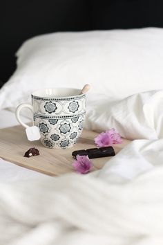 Tea and chocolate in bed. Yes please!