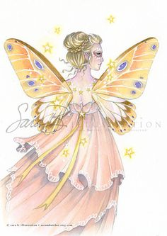 Original Watercolor Fairy Art Peach and Yellow by sarambutcher