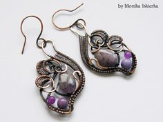 Shanley wire wrapped earrings with amethyst handmade by MeaJewelry