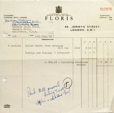 Marilyn Monroe's receipt shows a large order for her privately favoured perfume