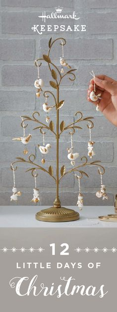 On the 12th day of Christmas, my true love gave to me… the 12 Little Days Of Christmas Tree Set from Hallmark Keepsake Ornaments! These beautifully decorated white and gold porcelain ornaments are the perfect gift ideas for your loved ones this holiday season. Collect all four sets as a symbol of true love. Shop online or at your nearest Hallmark Gold Crown store.