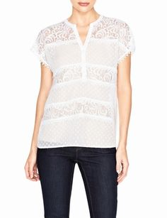 Sheer Dot & Lace Blouse from THELIMITED.com
