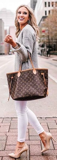 #winter #outfits Monogrammed canvas Louis Vuitton tote bag