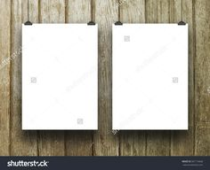 #Two #blank #frames #brown #wood #background