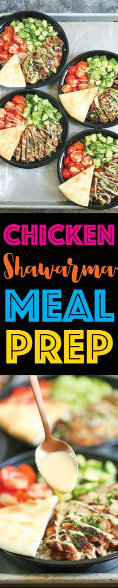 Chicken Shawarma Meal Prep - Prep for the week ahead for the easiest HOMEMADE chicken shawarma bowls with cucumber, tomato, pita bread and tahini sauce!!!