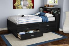 Captivating Boys Bedroom Interior with Wooden Floor also Blue Wall Paint Color and Modern Dark Wood Storage Drawers Platform Bed and Deluxe Black Wood Bookshelf Headboard